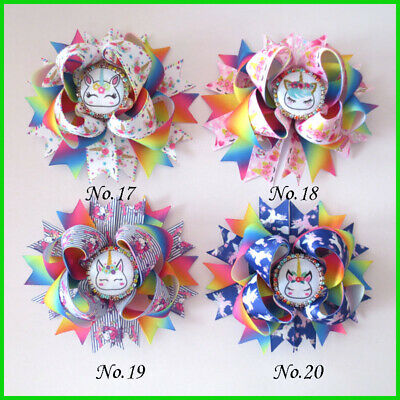 "50 BLESSING Good Girl Boutique 4.5"" Princess Hair Bow Clip Rainbow Unicorn"