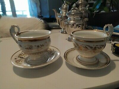 2 Tasses En Porcelaine De Paris Epoque Empire