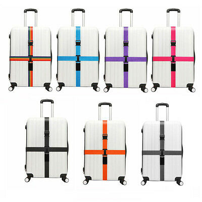 2pcs Adjustable Luggage Strap Travel Suitcase Baggage Packing Belt Long Cross