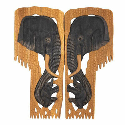 Wooden Hand Carved Picture Pair of Elephant Heads (Large) Wall Art Home Decor.
