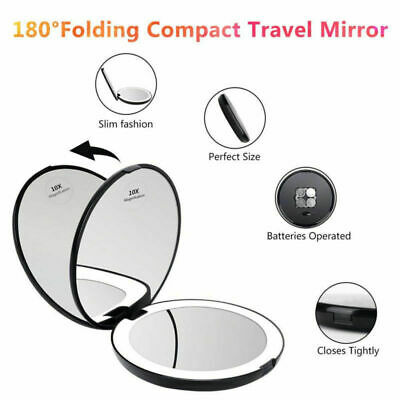 Mini Makeup 1X/10X Magnifying Mirror Compact Double-sided LED Light Portable AU