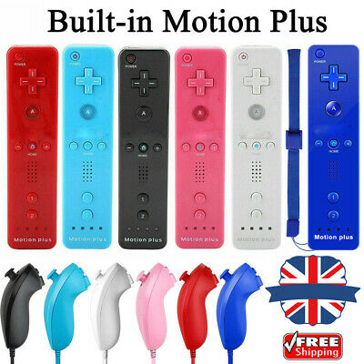 Remote and Nunchuck Controller WITH Motion Plus inside For NINTENDO WI 5Colors**