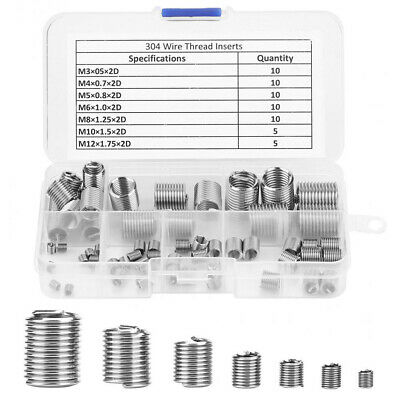 60 Pcs/set Repair Kit For Hardware Wire Insert Stainless Steel Durable Thread