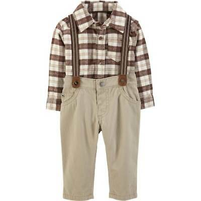 Baby Boy Carter's Brown Plaid Button Front Body Suit with Suspenders 18 Months
