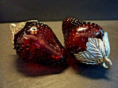 Vintage Red Glass Strawberry Salt And Pepper Shakers Plated Tops