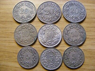 A Collection of old 9 Switzerland Rappen Coins -   Dates 1859 - 1962