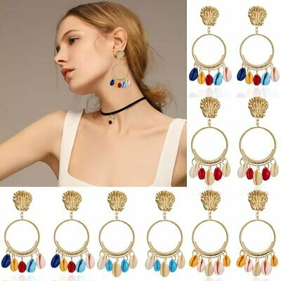 Women Bohemia Shell Tassel Earrings Stud Metal Dangle Drop Boho Summer Charm Hot