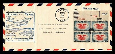 Dr Jim Stamps Us Alcoa Tennessee Air Mail Week Legal Size Second Day Cover