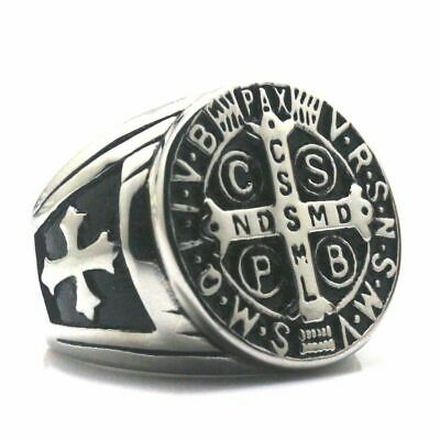 13bc23bb70e Mens Catholic St Saint Benedict Cross Ring Stainless Steel Exorcism Medal  Silver
