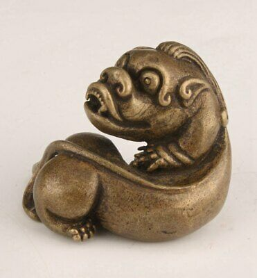 Rare Chinese Bronze Handmade Statue Fook Dog Figurine Old Collection