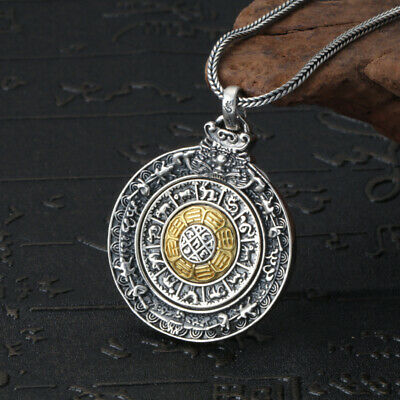 925 Pure Silver Fashion Twelve Zodiac Nine Palace Gossip Tag Pendant Men