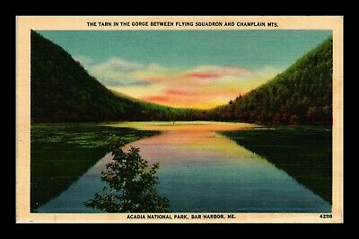 Dr Jim Stamps Us Tarn In Gorge Acadia National Park Bar Harbor Linen Postcard