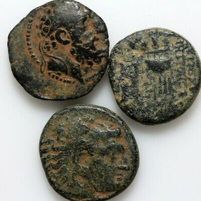 Lot Of 3 Top Quality Ancient Greek Bronze Coins Circa 200-100 Bc