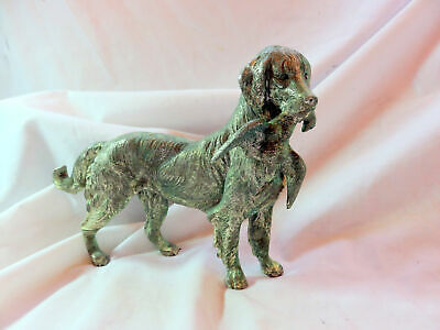 A Vintage Heavy Silver Plated Hunting Golden Retriever