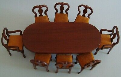 Vintage Sonia Messer Doll House Miniature Walnut Table & Eight Chairs