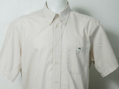 Lacoste Mens Brown Striped Shirt In Size 44 / XL Super Cool 100% Genuine