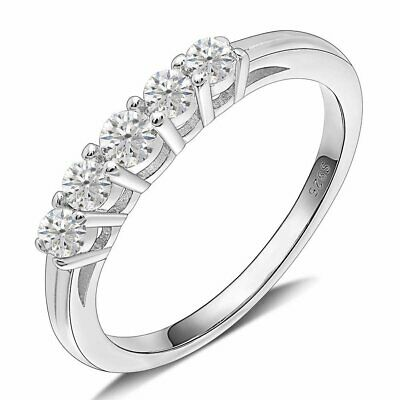 Le Sha Sterling Silver 5 Stone Anniversary Band Ring  Ginger Lyne Collection