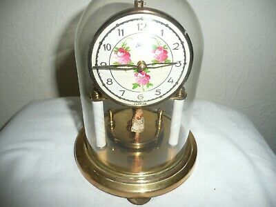 Vintage, Koma Anniversary Clock in Glass Dome, Unusual Pendulum With Dancers.