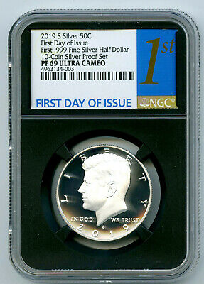 2019 S Kennedy Ngc Pf69 Ucam .999 Silver Proof Half Dollar First Day Issue Black