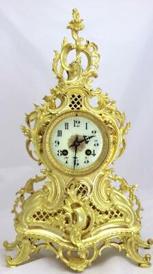 Antique French Mantle Clock Nice 1880's Embossed 8 day Gilt Rococo Bronze