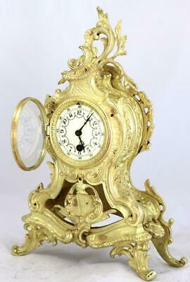 Antique Mantle Clock French Lovely 1870s Embossed Rococo Bronze Single Train