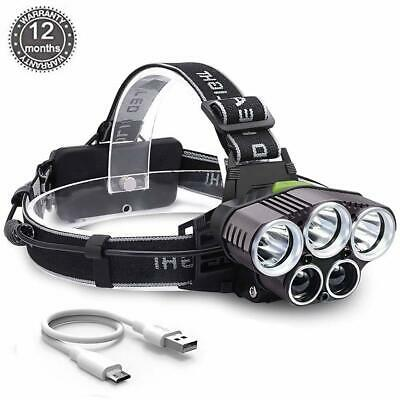 90000LM 5X XM-L T6 LED Headlamp Rechargeable Headlight Flashlight Head Torch