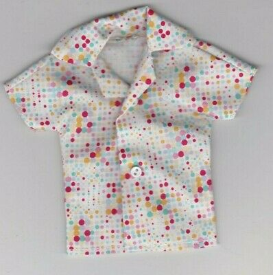 Homemade Doll Clothes-Yellow Gray and White Print Shirt fits Ken Doll B1