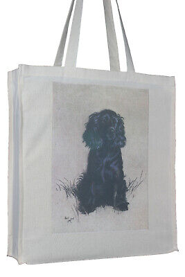 Cocker Spaniel Black Watching and Waiting Dog Cotton Bag Gusset Xtra Space Gift