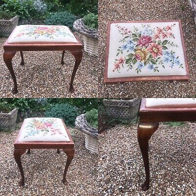 Vintage Tapestry Topped Wooden Dressing Table Piano Stool Chair