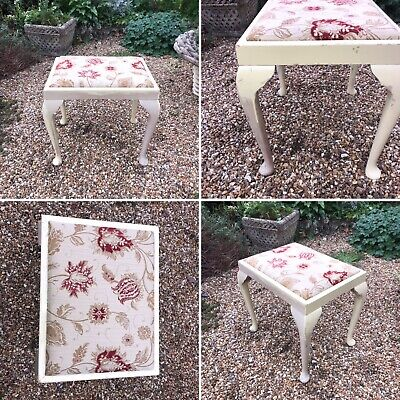Vintage Shabby Chic Dressing Table Piano Stool Chair