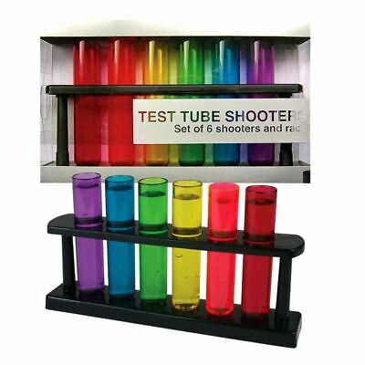 Test Tube Shooters Shot Glasses Set of 6 - Bar Party Accessories Boxed