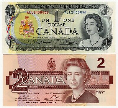Lot Of 2 1973 1986 Bank Of Canada Last Year Of One 1 And Two 2 Dollar Banknotes