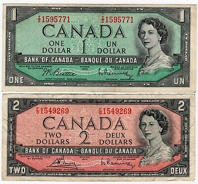 Lot Of 2 1954 Bank Of Canada One 1 And Two 2 Dollar Bank Notes