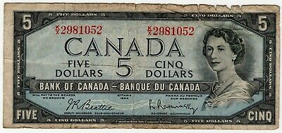 1954 Bank Of Canada Five 5 Dollar Bank Note Kx 2981052 Nice Bill