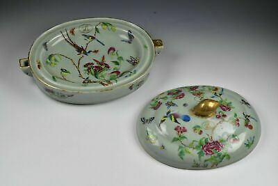 18th Century Chinese Export Famille Rose Celadon Bodied Warming Dish