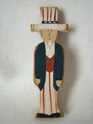 1988 Primitive Hand Painted Wood Patriotic UNCLE SAM Americana July 4th Pin