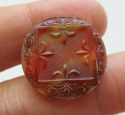 Beautiful Antique~ Vtg Victorian Dyed Carved Blond HORN BUTTON Ornate Design (Z)