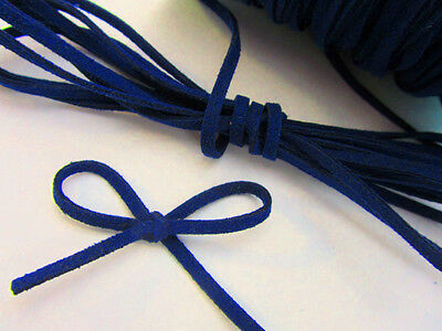 10 yards Genuine Leather Flat Suede Cord 3mm Trim/Thread/Beading T163-Navy Blue