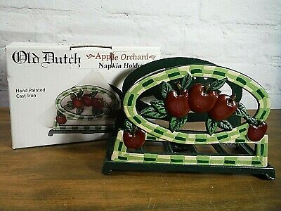 NEW Old Dutch Cast Iron Apple Orchard Napkin Holder, Letter Holder Hand Painted