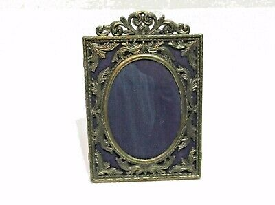Vintage c1970s ornate cast metal photo frame, picture, self stand, made in italy