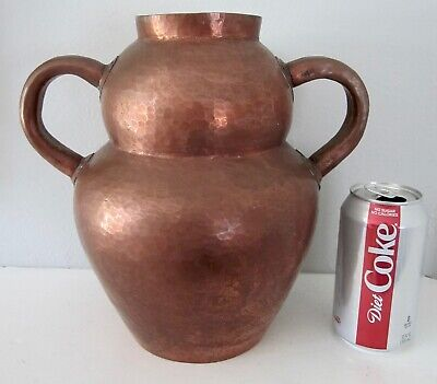Vintage antique arts and crafts hammered copper vase jug handles mission style