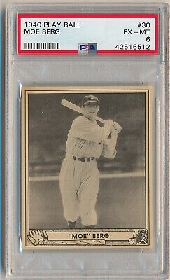 MOE BERG 1940 Play Ball Gum #30 PSA 6 EX-MT WWII US SPY BOSTON RED SOX