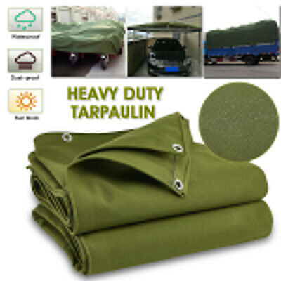 UK Green Canvas Heavy Duty Cotton Tarpaulin Cover Boat Log Store Roofing Sheets