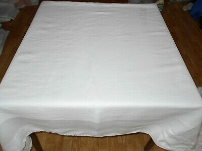 117x84 Vtg Antique FORMAL White IRISH LINEN DOUBLE DAMASK Tablecloth