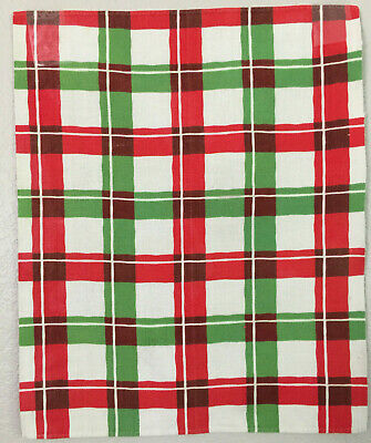 Bright Red White and Green Plaid Vintage Kitchen Towel