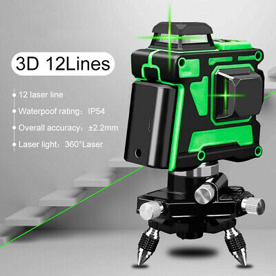 12 Lines Laser Level Green Self Leveling 360° Rotary Cross Horizontal & Vertical