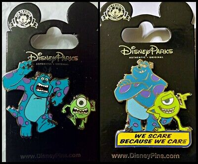 Disney Parks 3 Pin Lot MONSTERS INC Mike & Sulley Running set + We Scare we care