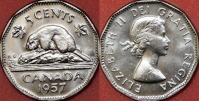 Brilliant Uncirculated 1957 Canada 5 Cents From Mint's Roll
