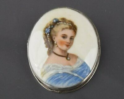 French Limoges Vintage Hand Painted Oval Brooch of a 18th Century Female