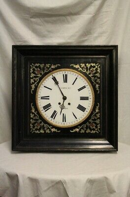Wall Clock, Wooden Ebonized with Decorations Inlaid, Period Nineteenth Century